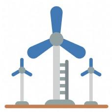 低碳风车环保插画
