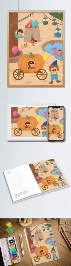 六一儿童节游乐场手绘插画海报