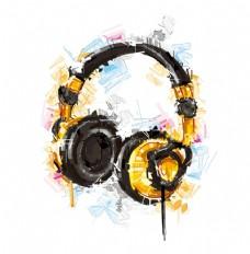 耳机炫酷拼接图案设计