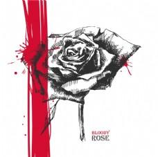 素描写实玫瑰花喷溅