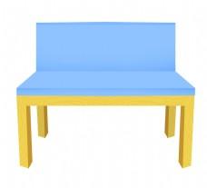 天蓝色坐垫椅子插画