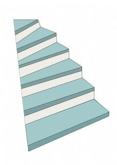 天蓝色的楼梯插画