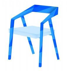 蓝色的沙滩椅子插画
