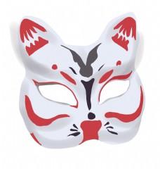 日本猫咪面具插画