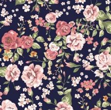 黑色底花朵家纺图案