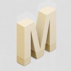 立体3D英文字母M