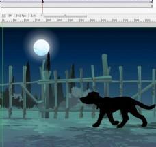 夜里经过栅栏的野兽走路4秒