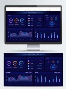 暗色系科技感数据总控可视化数据网页界面