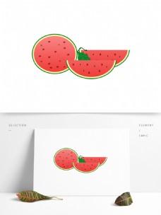 盛夏西瓜降暑水果元素