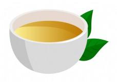 一杯绿茶茶水插画