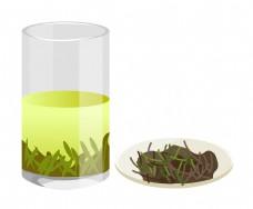 一杯茶水和一盘茶叶