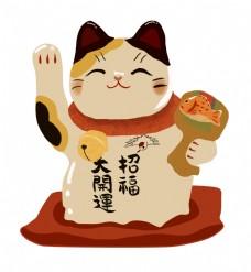 日本招财猫装饰插画
