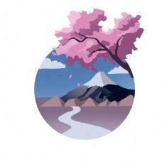 日本富士山的插画