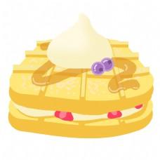 黄色美食蛋糕插画