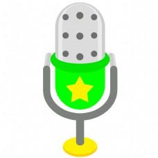 绿色卡通唱歌麦克风