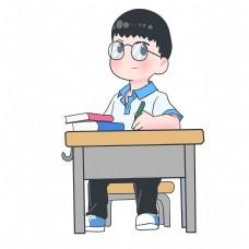 开学季上学的小男孩