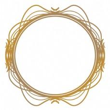 欧式圆形金色线条边框