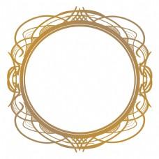 欧式圆形金色花纹边框