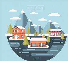 创意滑雪场建筑风景