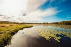 湖水与草原的接吻蓝天草原白云湖面