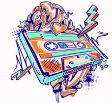 嘻哈磁带创意图案设计