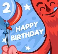 拿氣球束的怪獸生日賀卡