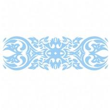 天蓝色的欧式花纹插画