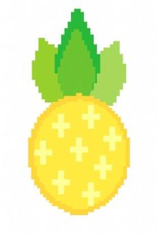 卡通黄色菠萝像素画