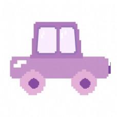 紫色卡通汽车像素画