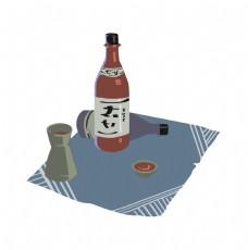 日本清酒装饰插画