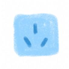 蓝色手绘插画插座图标