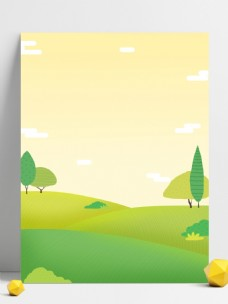 彩绘清新春季植物背景设计