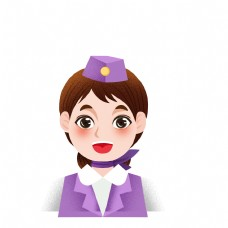 卡通可爱空姐头像设计