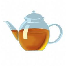 天蓝色的茶壶插画
