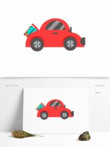 红色手绘汽车插画元素