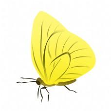 黄色蝴蝶装饰插画