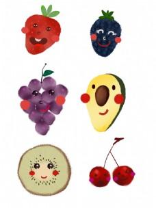 卡通水彩手绘水果套图