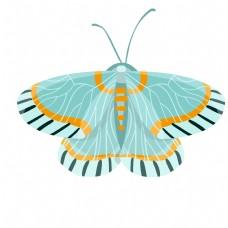 浅绿色昆虫蝴蝶插画