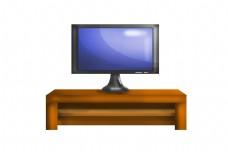 电视柜和电视机插画