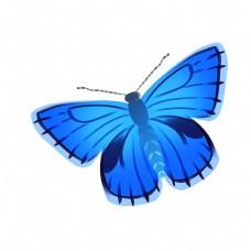 天蓝色的蝴蝶插画