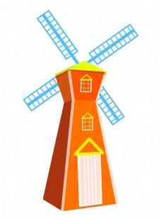 天蓝色风车建筑插画