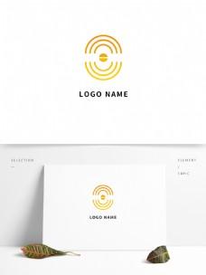 黄色创意几何线条企业商务logo