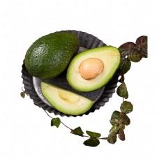 绿色圆弧牛油果食物盘子元素
