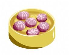 紫薯小吃卡通插画