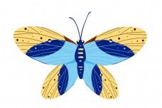 黄蓝色蝴蝶装饰插画
