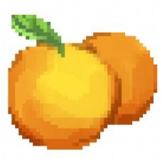 黄色的像素橙子插画