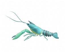 天蓝色的龙虾插画