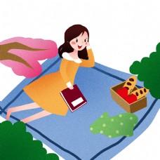 踏青看书的小女孩