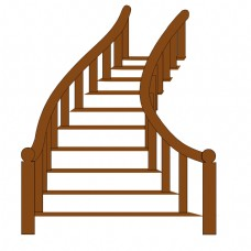 延伸的卡通楼梯插画