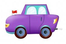 紫色的汽车装饰插画